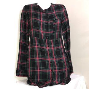 Zara Mackenzie Plaid Viscose Button Up Long Dress